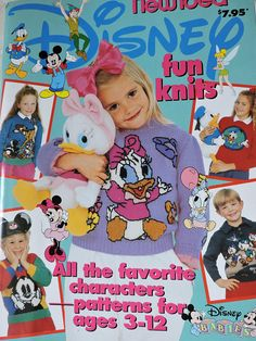 Disney Fun Knits New Idea Fun 'Disney Babies' knitting pattern book 1992 Oliver And Company, Baby Mickey, Kid Character, Lady And The Tramp, Crochet Books, Pooh Bear, Disney Fun, Walt Disney, Baby Knitting Patterns