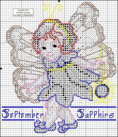 Toddler Birthstone Fairy September Sapphire Cross Stitch Pattern 2/5