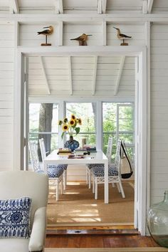 Whitewashed Cottage Dining Room - I like the whitewash and blue for the basement remodel.