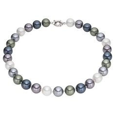 @Overstock.com.com - Pearlyta Sterling Silver Multi-colored Marble Shell Pearl Necklace - This pretty necklace from Pearlyta features beautiful round marble shell pearls in multiple colors including black, blue, green and white. The necklace secures with a sterling silver spring ring clasp.  http://www.overstock.com/Jewelry-Watches/Pearlyta-Sterling-Silver-Multi-colored-Marble-Shell-Pearl-Necklace/8462969/product.html?CID=214117 $64.99
