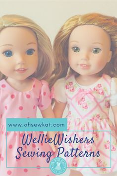 Sewing patterns for Wellie Wishers dolls. Easy pdf patterns to print and sew- free skirt pattern at www.ohsewkat.com.  #welliewishers #americangirldolls #sewdollclothes