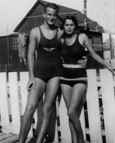 John Wayne with his wife Josephine Saenz in bath suits, 1932