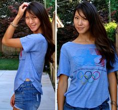 Cutting shirt to fit- Gap 1984 Los Angeles Olympics Vintage Throwback Tee