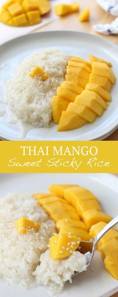 Thai Mango Sweet Sticky Rice the classic Southeast Asian dessert Glutinous rice soaked in sweet coconut milk served with fresh juicy sweet mangoes YUM Sticky Rice Thai, Coconut Sticky Rice, Sweet Sticky Rice, Sticky Rice Recipes, Mango Sticky Rice, Coconut Sauce, Thai Rice, Sticky Rice Dessert Recipe, Thai Coconut Rice