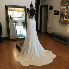 Wedding Dress with Open Back - Sexy Crepe Wedding Dress with Scalloped Train and Side Cutouts Crepe Wedding Dress, Open Back Wedding Dress, Wedding Dress Styles, Perfect Wedding, Dream Wedding, Train, Weddings, Boutique, Bridal