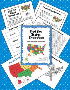 Find the States Showdown is a game for reviewing state names and locations, and it can also be used for reviewing state capitals and abbreviations. Students can play the game with the states in a single region, or play a challenge game with all 50 states. This Mini Pack includes game directions, maps, playing materials, and an answer key. Preview the whole packet online.$