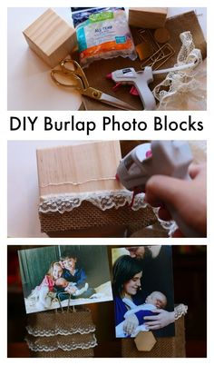 Easy tutorial for DIY Burlap Photo Blocks using Elmer's hot glue. Perfect for a gift this Christmas.