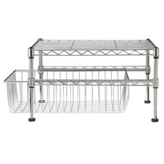 "KITCHEN: Target $17.89  The urban, industrial-like Single Basket Organizer is great for the kitchen, laundry room or bathroom. Store towels and washcloths, dryer sheets or doggie treats. Out in the open or in storage space, the Single Basket Organizer is multi-functional. The commercial chrome-plated, steel shelving unit adjusts at 1"" intervals and features a leveling feet protective pad. No tools required for easy assembly. Imported. 10Hx11-1/2Wx17-1/2L."