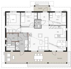 Iso - Talomalli: Kontio, Rusko A My Dream Home, Future House, Interior Architecture, House Plans, Sweet Home, New Homes, Floor Plans, Cottage, How To Plan