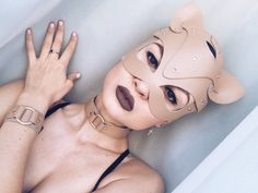 Leather mask cat for woman Kitten Mask With a Clasp on the