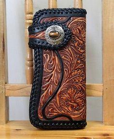 Vintage-Wallet-Hand-Carved-Tooled-Leather-Biker-Wallet-Black