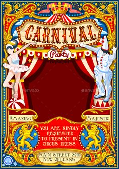 Buy Circus Carnival Dancer and Clown Theme Vintage Vector by aurielaki on GraphicRiver. Circus Juggler Dancer and Clown show Retro Template. Circus Tickets, Circus Poster, Circus Theme, Circus Party, Circus Clown, Circus Wedding, Circus Birthday Invitations, Carnival Birthday Parties, Party Invitations