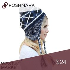 -NEW ARRIVAL-🎉 The Dakota Beanie Navy blue and white beanie that is key to keeping you cozy! A pompom on top adds fun and flare, while the ear flaps keep out the cold 🙅 you'll be rocking this all winter long! West Market SF Accessories Hats