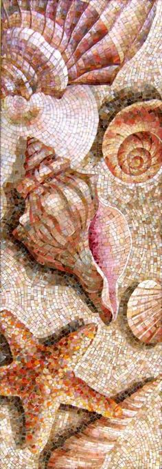"Decorative mosaic panel ""Shells"" in the interior of the bathroom - studio mosaic Artmonument Pebble Mosaic, Mosaic Wall Art, Mosaic Glass, Mosaic Tiles, Fused Glass, Stained Glass, Glass Art, Tiling, Mosaic Crafts"