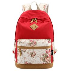 Canvas Match Nubuck Leather Satchel Rucksack Backpacks School Bags for Girls Female Mochila Escolar Printing Backpack School Girl Backpacks, School Backpacks, Canvas Backpacks, Leather Backpacks, Mochila Floral, Floral Backpack, Rucksack Backpack, Travel Backpack, Laptop Backpack