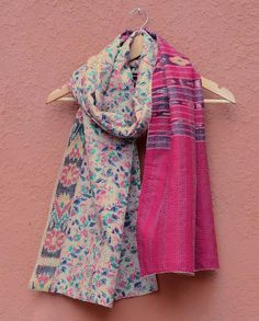 Beige Kantha Scarf with Floral Print Work - Buy House of Wandering Silks Online…