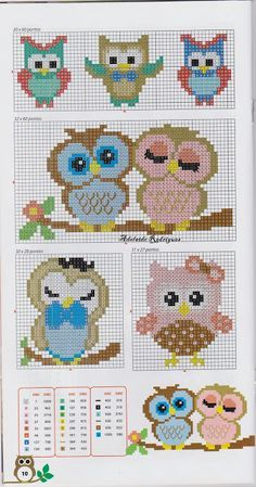 Lots of owl cross stitch patterns. Google translate from Portuguese.                                                                                                                                                                                 More