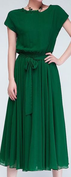Green belted pleated dress
