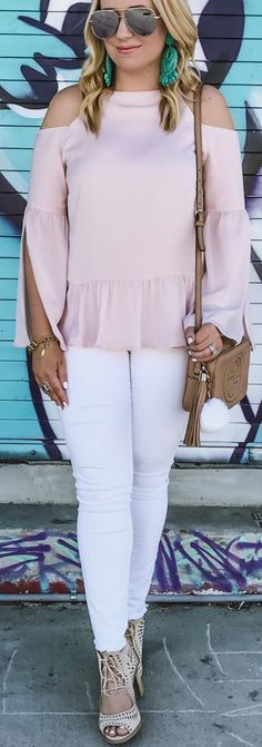 Pink Open Shoulder Top / White Skinny Jeans / Brown Shoulder Bag.Chelsea28 Bell Sleeve Cold Shoulder Top PInk hush Black Ivory  Trending Summer Spring Fashion Outfit to Try This 2017 Great for Wedding,casual,Flowy,Black,Maxi,Idea,Party,Cocktail,Hippe,Fashion,Elegant,Chic,Bohemian,Hippie,Gypsy,Floral