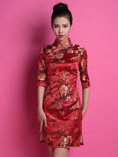 Red Floral Custom Tailored Silk Qipao / Cheongsam Wedding Dress Cheongsam Wedding, Cheongsam Dress, Chinese Dresses, Chinese Clothing, Female Fashion, Asian Fashion, Prom Dresses, Formal Dresses, Wedding Dresses