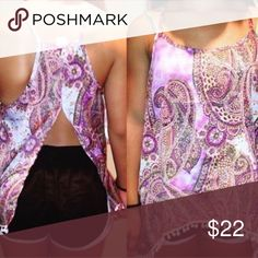 Paisley boho slot open back tank top PERFECT condition! And really beautiful! Size medium but can fit smaller! Silky material. E150 Tops Tank Tops