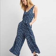 83c5aefc8c1d GAP Navy Blue White Chevron Stripe Zig Zag Culotte Resort Belted Jumpsuit  XS  fashion  clothing  shoes  accessories  womensclothing  jumpsuitsrompers  (ebay ...