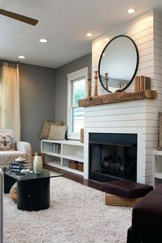 Contemporary and clean to enhance the modern feel of the room fireplace facing. Contemporary and clean to enhance the modern feel of the room fireplace facing. Farmhouse Fireplace, Home Fireplace, Fireplace Remodel, Living Room With Fireplace, Fireplace Design, My Living Room, Home And Living, Shiplap Fireplace, Fireplace Ideas