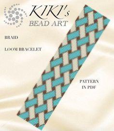 Bead loom pattern - Braid geometric LOOM bracelet pattern in PDF - instant downl. Loom Bracelet Patterns, Bead Loom Bracelets, Bead Loom Patterns, Woven Bracelets, Beaded Jewelry Patterns, Peyote Patterns, Beading Patterns Free, Motifs Perler, Bracelet Patterns