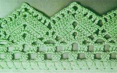 Barrado de Crochê para Pano de Prato: Passo a Passo e Gráficos 30 Fotos Crochet Baby Dress Free Pattern, Diy Crochet Bag, Crochet Border Patterns, Crochet Lace Edging, Crochet Trim, Crochet Designs, Crochet Doilies, Crochet Stitches, Knit Crochet