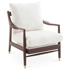 Serafi Accent Chair, White Linen
