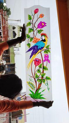 Glass Etching Designs, Glass Painting Designs, Stained Glass Designs, Paint Designs, Pooja Room Door Design, Main Door Design, Glass Front Door, Glass Door, Window Glass Design