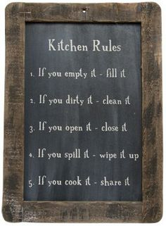 TOPSELLER! Framed Kitchen Rules Blackboard - Primitive Country Rustic Reminders Wall Decor $15.99