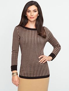 Talbots - Houndstooth Bateau Sweater | Sweaters | Misses