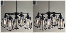 TWO BLACK METAL HANGING CHANDELIER LIGHT FIXTURE MODERN RUSTIC INDUSTRIAL STYLE