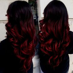 black and red ombre hair - Red Hair Ombre Hair Color For Brunettes, Magenta Hair Colors, Bright Blue Hair, Black Hair Ombre, Blonde Ombre, Black To Red Hair, Red Hair Dye For Dark Hair, Dark Hombre Hair, Black And Red Ombre