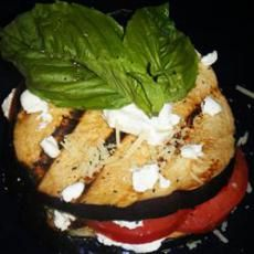 Grilled Eggplant, Tomato and Goat Cheese