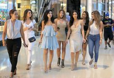 Squad: Kim Kardashian led the glam parade during a shopping spree at the Shops at Crystals in Las Vegas on Saturday alongisde, L to R, Kisha Madrid, Maria Menounos, Tracy Romulus, Larsa Pippen, LaLa Anthony and Carla DiBello