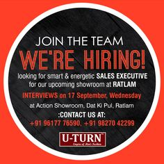 We are #Hiring! Come and join the #fashion crew at the empire of men's fashion U TURN.