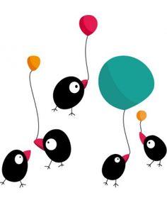 Stickers Oiseaux ballons