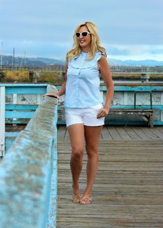 San Francisco Bay Style: Blue Striped Ruffle Top