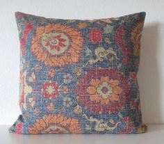 Bohemian pillow cover blue red decorative by chicdecorpillows