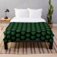 'Green Glitter Celtic Knot Heart Pattern' Throw Blanket by HavenDesign Green Glitter, Heart Patterns, Celtic Knot, Bed & Bath, Sell Your Art, Colorful Backgrounds, Comforters, Duvet Covers, Blanket