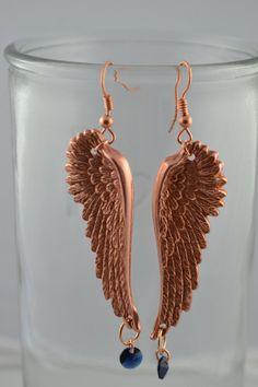 Rose Gold Angel Wing Earrings, Statement Earrings, Feather Earrings, Crystal Earrings, Boho Earrings, Jewelry, Long Dangle Earrings, Gift
