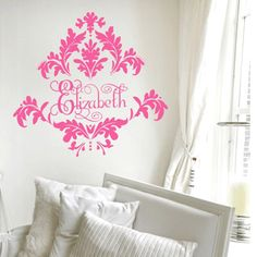 cute damask wall decal for bedroom