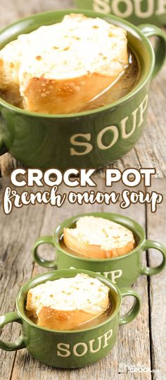 Slow Cooker idea: Do you love French Onion Soup? Did you know it is super easy to make in your slow cooker? This Crock Pot French Onion Soup recipe will have you whipping up your favorite restaurant soup whenever you want for a fraction of the price! Crock Pot Food, Crock Pot Slow Cooker, Slow Cooker Recipes, Crockpot Recipes, Cooking Recipes, Crock Pot Soup Recipes, Crock Pots, Healthy Recipes, Crockpot French Onion Soup