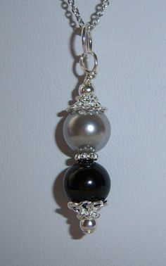Simple Pearl Necklace Sterling Silver Black by TheButterflyGarden7, $20.00