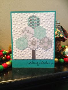 Stampin' Up ... hand crafted card from Mary's Tales ... punched hexagon tree ... white, aqua and gray ...