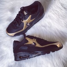 Nike Air Max 90 Black/Gold Shoes Made with SWAROVSKI® Crystals