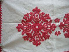 Hand embroidered vintage Hungarian folk art table by katavintage
