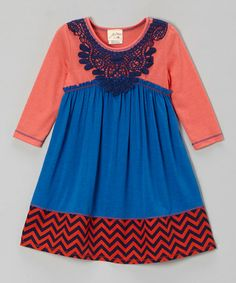 Take a look at this Royal Blue Lace Empire-Waist Dress - Girls by Vanilla Crème on #zulily today!